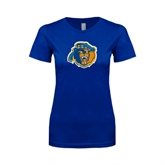 Next Level Ladies SoftStyle Junior Fitted Royal Tee-Highlander Bear