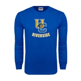 Royal Long Sleeve T Shirt-Interlocking UC Riverside w/Bear Head