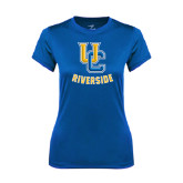 Ladies Syntrel Performance Royal Tee-Interlocking UC Riverside