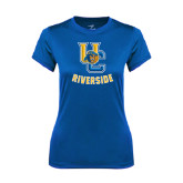 Ladies Syntrel Performance Royal Tee-Interlocking UC Riverside w/Bear Head