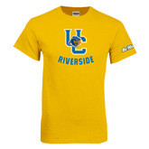 Gold T Shirt-Interlocking UC Riverside w/Bear Head