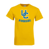 Gold T Shirt-Interlocking UC Riverside Distressed