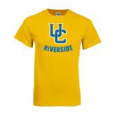 Gold T Shirt-Interlocking UC Riverside Distressed