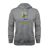 Grey Fleece Hoodie-Interlocking UC Riverside w/Bear Head