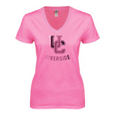Next Level Ladies Junior Fit Ideal V Pink Tee-Interlocking UC Riverside