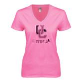 Next Level Ladies Junior Fit Deep V Pink Tee-Interlocking UC Riverside