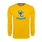 Gold Long Sleeve T Shirt-Interlocking UC Riverside w/Bear Head