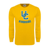 Gold Long Sleeve T Shirt-Interlocking UC Riverside Distressed