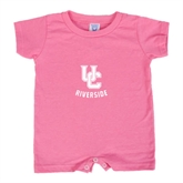 Bubble Gum Pink Infant Romper-Interlocking UC Riverside