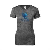 Next Level Ladies Junior Fit Dark Grey Burnout Tee-Interlocking UC Riverside
