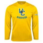 Performance Gold Longsleeve Shirt-Interlocking UC Riverside w/Bear Head