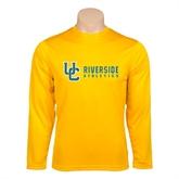 Performance Gold Longsleeve Shirt-Interlocking UC Riverside Side Version