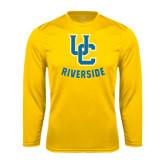 Performance Gold Longsleeve Shirt-Interlocking UC Riverside