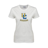 Ladies White T Shirt-Interlocking UC Riverside