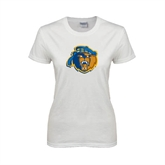 Ladies White T Shirt-Highlander Bear