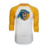 White/Gold Raglan Baseball T-Shirt-Highlander Bear