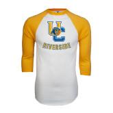 White/Gold Raglan Baseball T-Shirt-Interlocking UC Riverside w/Bear Head