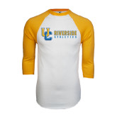 White/Gold Raglan Baseball T-Shirt-Interlocking UC Riverside Side Version
