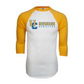 White/Gold Raglan Baseball T-Shirt-Interlocking UC Riverside Side Version