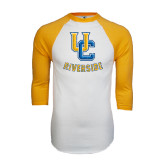 White/Gold Raglan Baseball T-Shirt-Interlocking UC Riverside Distressed