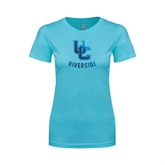 Ladies SoftStyle Junior Fitted Light Blue Tee-Interlocking UC Riverside