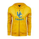 ENZA Ladies Gold Fleece Full Zip Hoodie-Interlocking UC Riverside