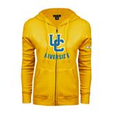 ENZA Ladies Gold Fleece Full Zip Hoodie-Interlocking UC Riverside