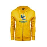ENZA Ladies Gold Fleece Full Zip Hoodie-Interlocking UC Riverside w/Bear Head