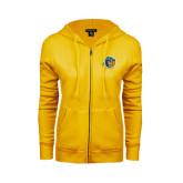 ENZA Ladies Gold Fleece Full Zip Hoodie-Highlander Bear