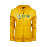 ENZA Ladies Gold Fleece Full Zip Hoodie-Interlocking UC Riverside Side Version