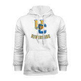 White Fleece Hoodie-Interlocking UC Riverside w/Bear Head