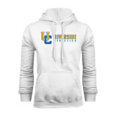 White Fleece Hoodie-Interlocking UC Riverside Side Version