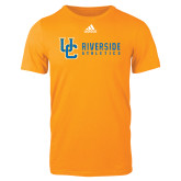 Adidas Gold Logo T Shirt-Interlocking UC Riverside Side Version