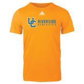 Adidas Gold Logo T Shirt-Interlocking UC Riverside Side Version