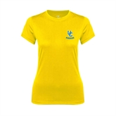 Ladies Syntrel Performance Gold Tee-Interlocking UC Riverside