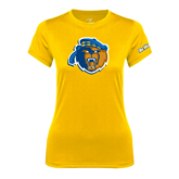 Ladies Syntrel Performance Gold Tee-Highlander Bear
