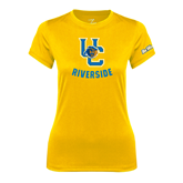 Ladies Syntrel Performance Gold Tee-Interlocking UC Riverside w/Bear Head