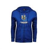 ENZA Ladies Royal Fleece Full Zip Hoodie-Interlocking UC Riverside w/Bear Head