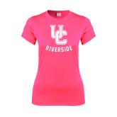 Ladies Performance Hot Pink Tee-Interlocking UC Riverside