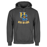 Charcoal Fleece Hoodie-Interlocking UC Riverside w/Bear Head