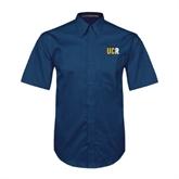 Navy Twill Button Down Short Sleeve-UCR
