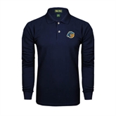 Navy Long Sleeve Polo-Highlander Bear