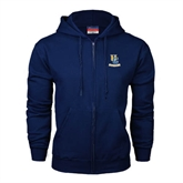 Navy Fleece Full Zip Hoodie-Interlocking UC Riverside