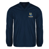 V Neck Navy Raglan Windshirt-Interlocking UC Riverside
