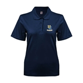 Ladies Easycare Navy Pique Polo-Interlocking UC Riverside