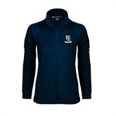 Ladies Fleece Full Zip Navy Jacket-Interlocking UC Riverside