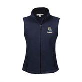 Ladies Fleece Full Zip Navy Vest-Interlocking UC Riverside