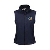 Ladies Fleece Full Zip Navy Vest-Highlander Bear