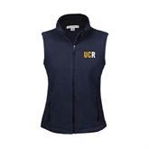 Ladies Fleece Full Zip Navy Vest-UCR