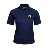 Ladies Navy Textured Saddle Shoulder Polo-UCR